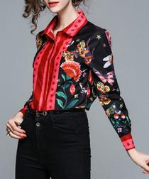 Black & red print button-up shirt