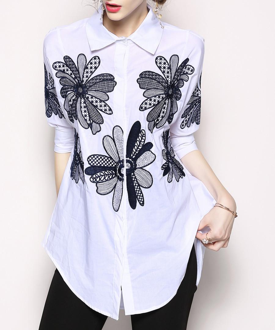White & black embroidered shirt Sale - Kaimilan