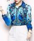 Blue peacock print button-up shirt Sale - Kaimilan Sale