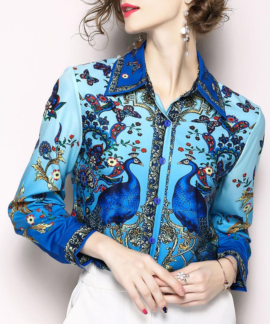 Blue peacock print button-up shirt Sale - Kaimilan