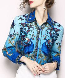 Blue peacock print button-up shirt
