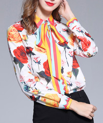 Multi-colour rose print button-up shirt