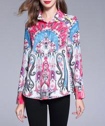 Pink & blue print button-up shirt