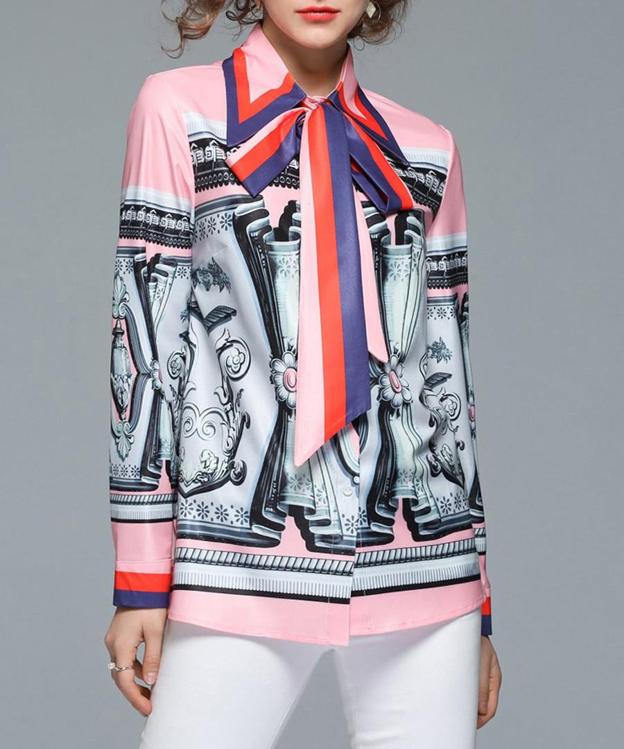 Pink & grey print pussybow shirt Sale - Kaimilan