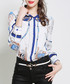 White & blue print button-up shirt Sale - Kaimilan Sale