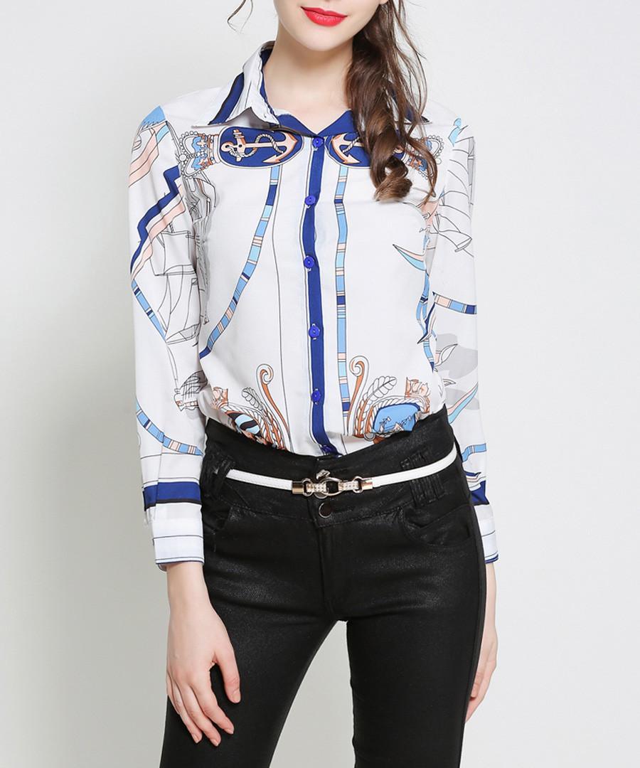 White & blue print button-up shirt Sale - Kaimilan