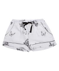 White cotton butterfly pyjama shorts