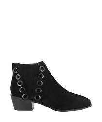 Lexi black leather embellished boots