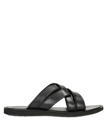 Black leather crossover sandals