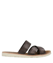 Dark brown leather crossover sandals