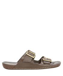 Dark brown leather double strap sandals