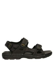 Black leather strap & stitch sandals