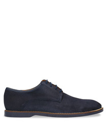 Navy blue suede lace-up shoes
