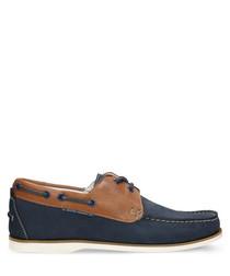 Navy blue & ginger nubuck boat shoes
