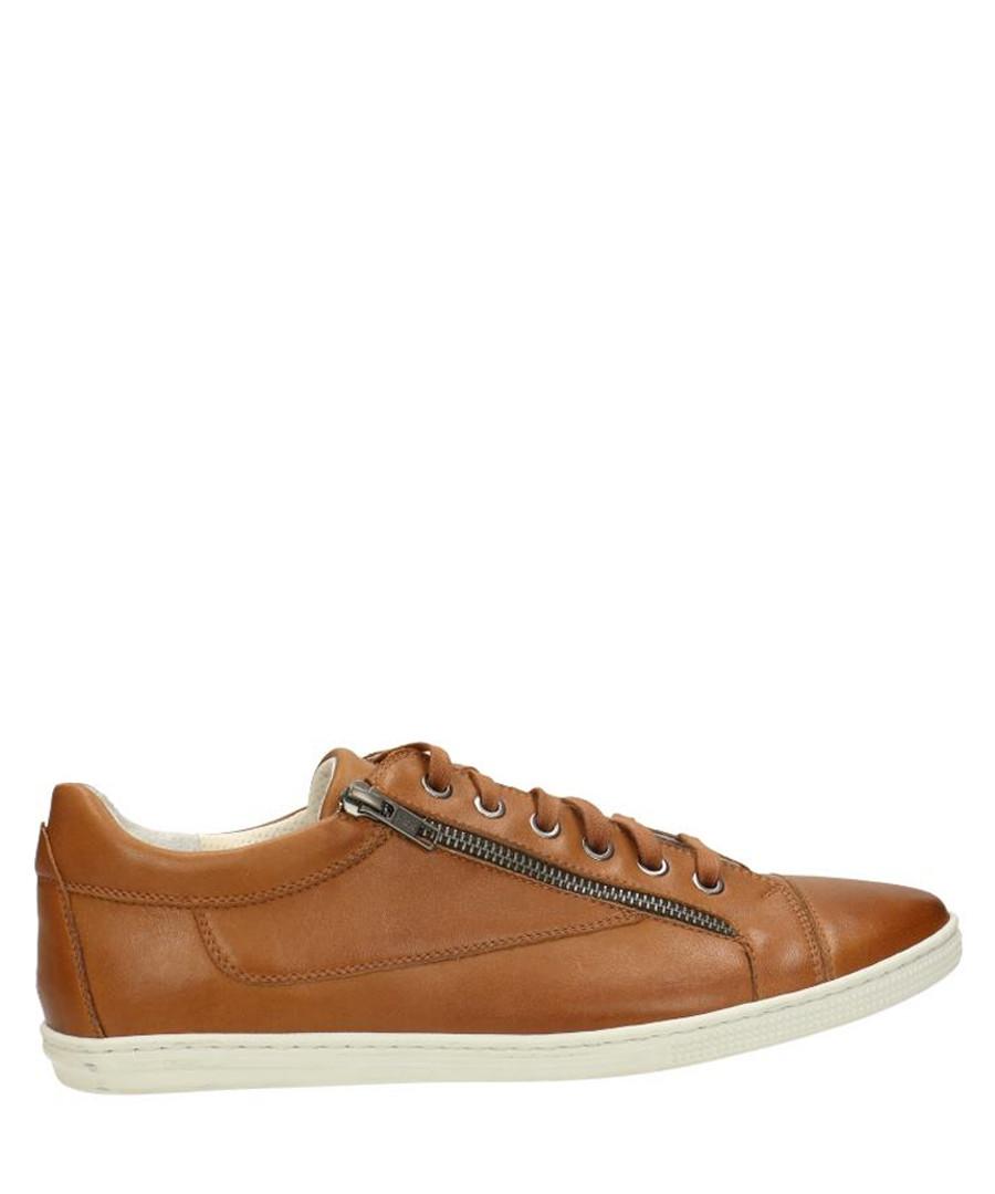 Tan brown leather zip sneakers  Sale - gino rossi