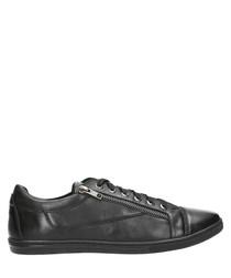 Black leather zip detail sneakers