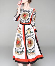 White & red print flare sleeve dress