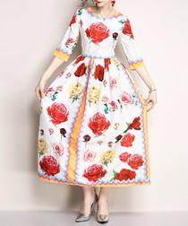 White rose print maxi dress