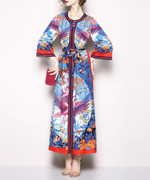 Multi-colour print long sleeve dress