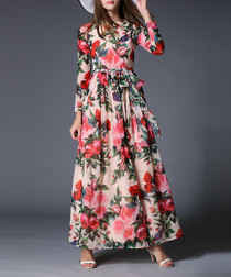 Pink rose print long sleeve maxi dress