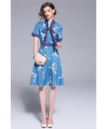 Blue print pussybow mini dress