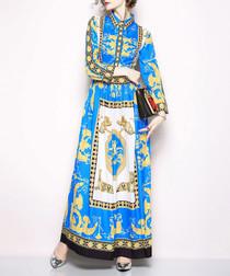 Blue & white print maxi dress