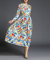 Multi-colour print long sleeve dress