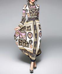 White print long sleeve maxi dress