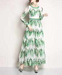 White & green bean print maxi dress