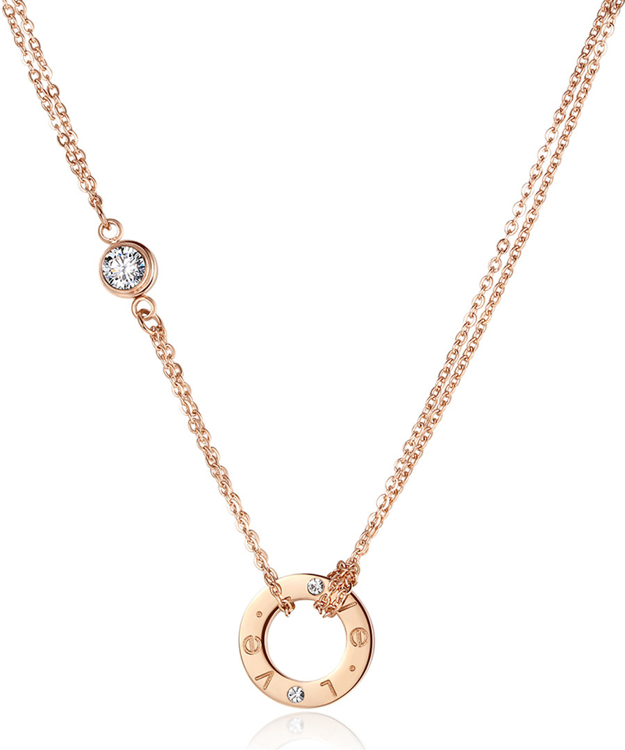 Love 18ct rose gold-plated necklace Sale - caromay