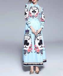 Light blue & white print maxi dress