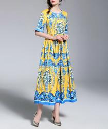 Yellow & blue print maxi dress