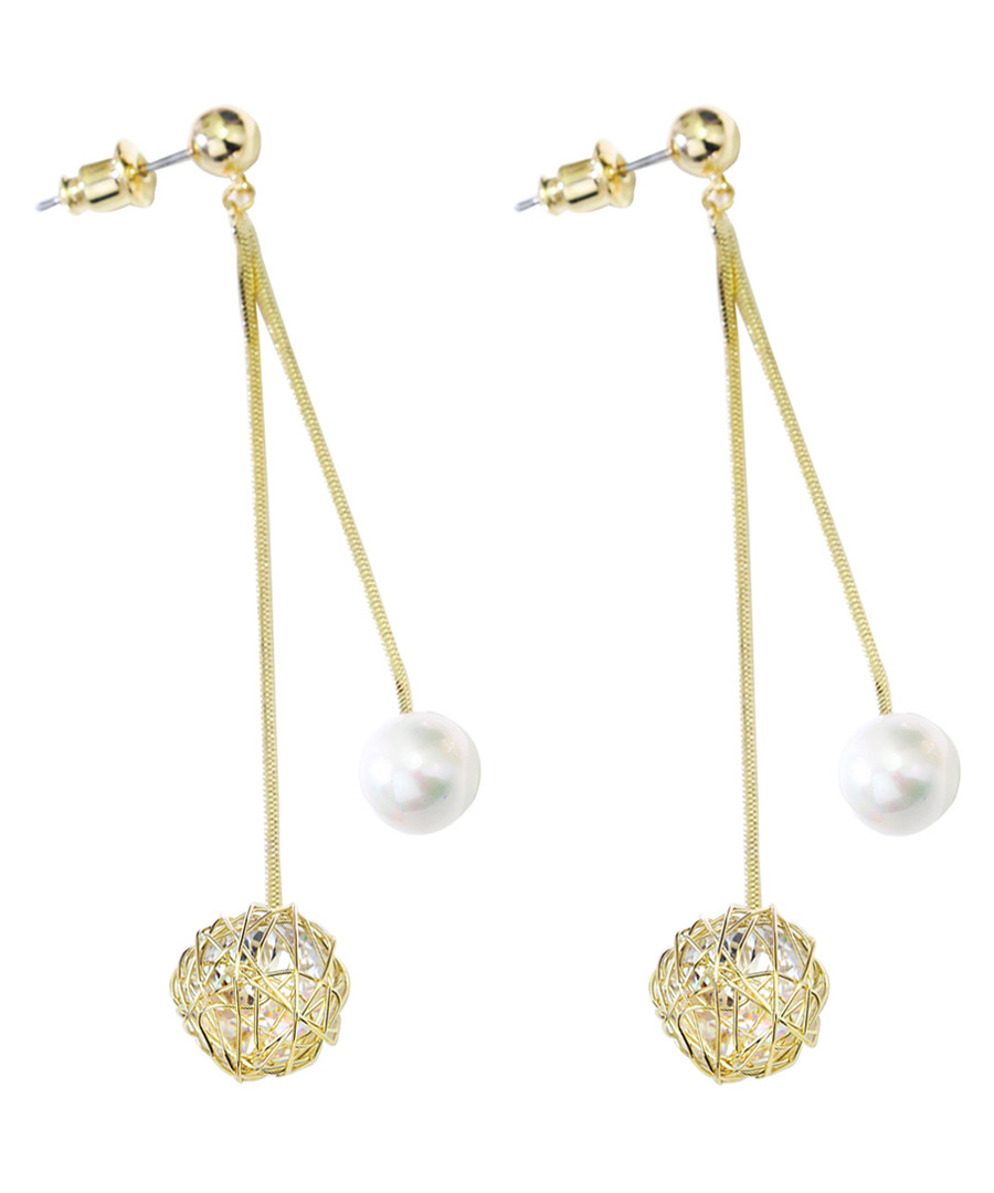 Bump 18ct gold-plated drop earrings Sale - caromay