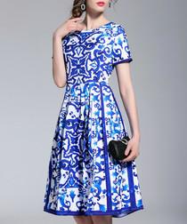 Blue & white print mini dress