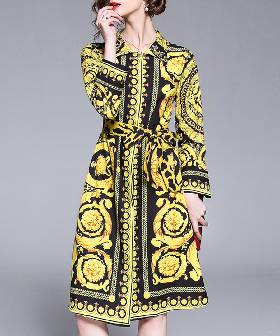 Black & yellow print shirt dress Sale - Kaimilan