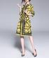 Black & yellow print shirt dress Sale - Kaimilan Sale