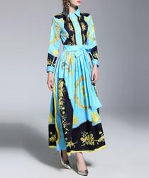 Blue & black print shirt maxi dress