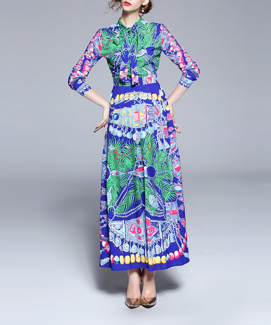 Blue print 3/4 sleeve maxi dress Sale - Kaimilan