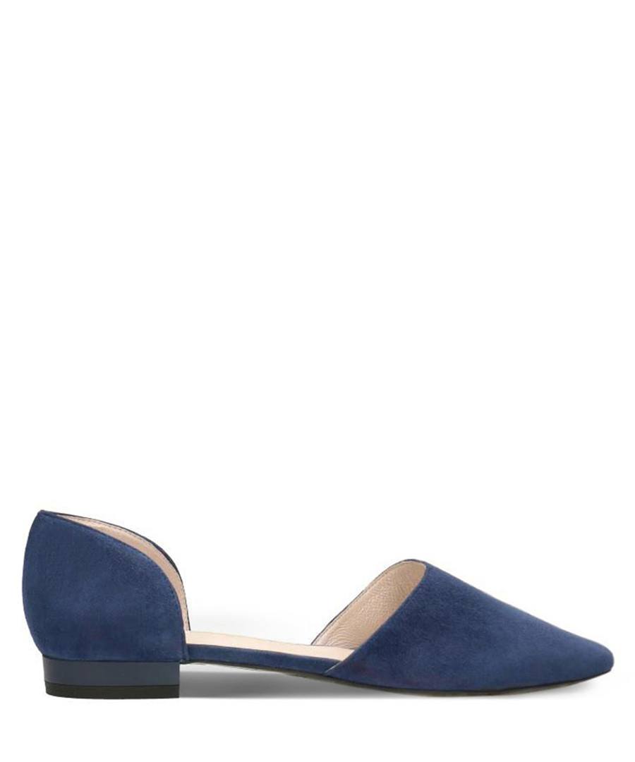 Navy suede pointed ballet flats Sale - Gino Rossi