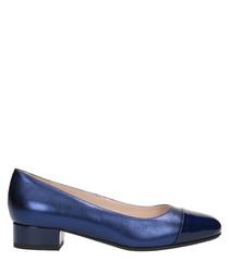 Navy blue leather heeled ballet flats