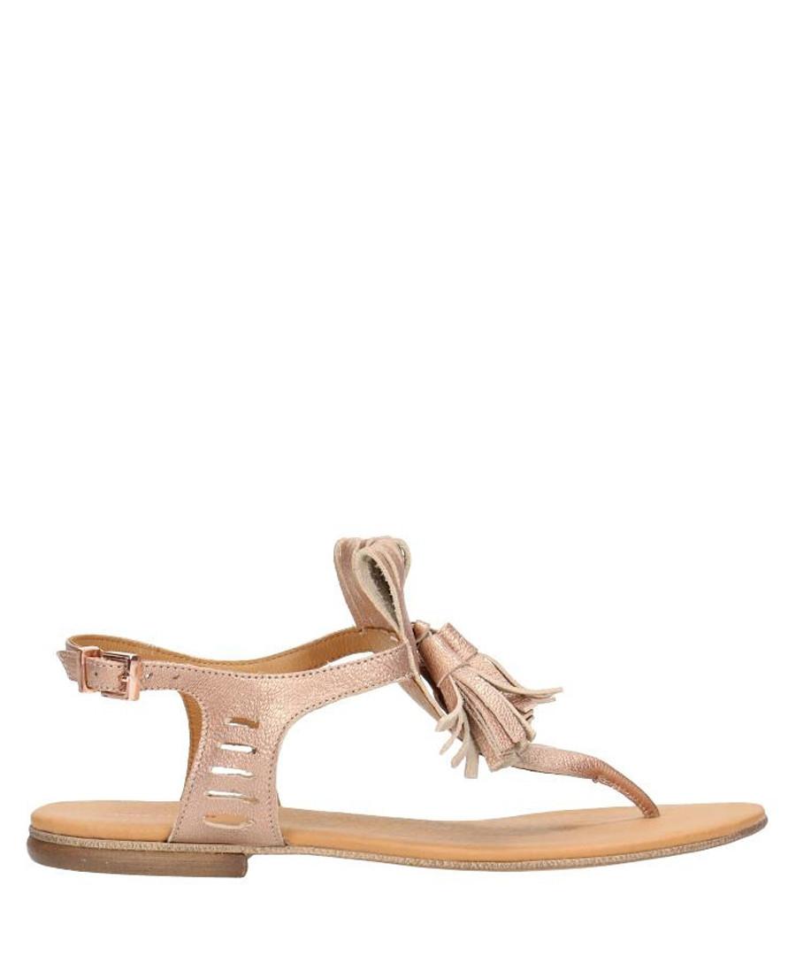 Beige leather tassel T-bar sandals Sale - gino rossi