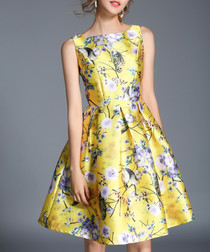 Yellow floral sleeveless full dress
