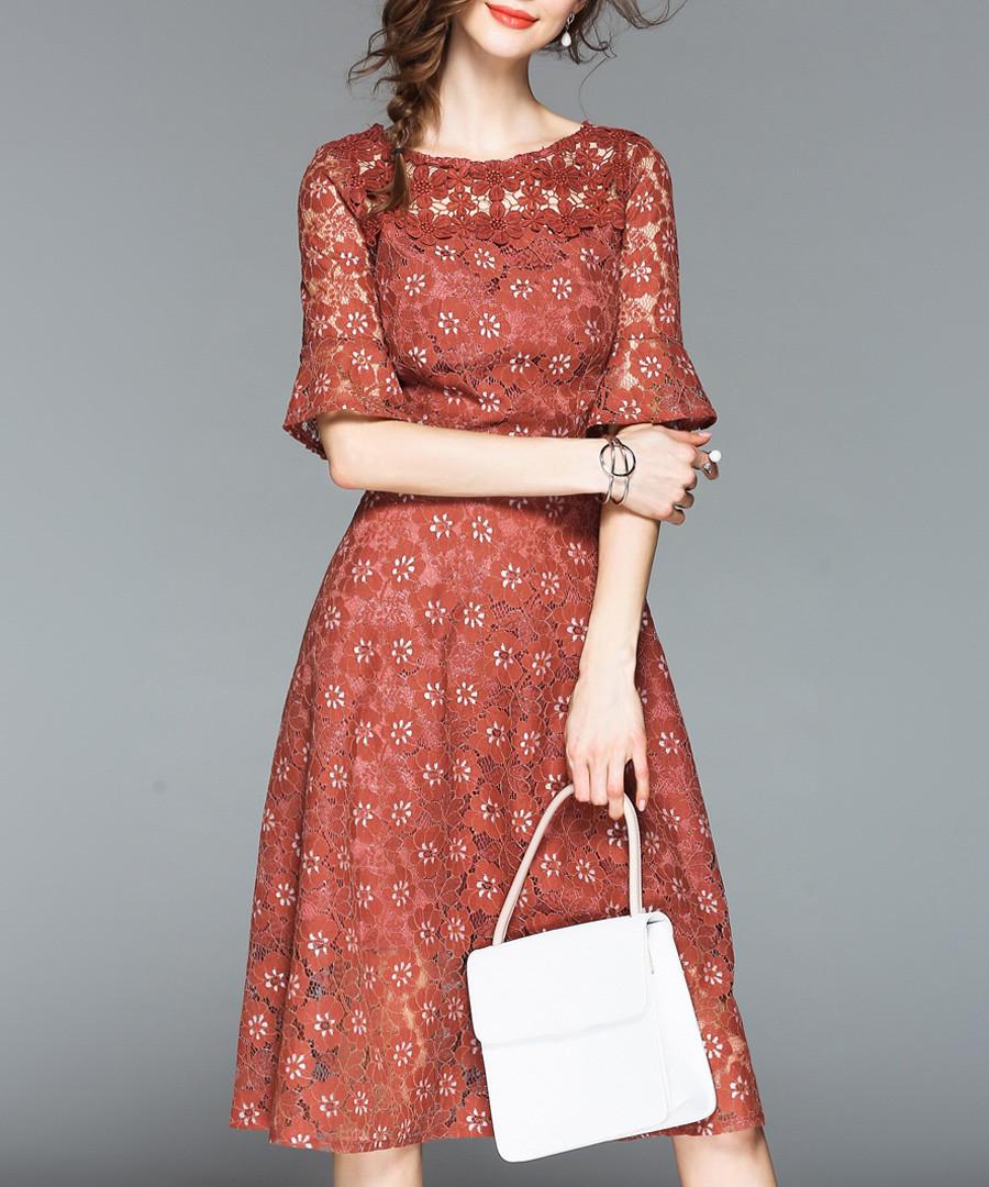 Caramel lace overlay 3/4 sleeve dress Sale - Tina