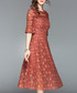 Caramel lace overlay 3/4 sleeve dress Sale - Tina Sale