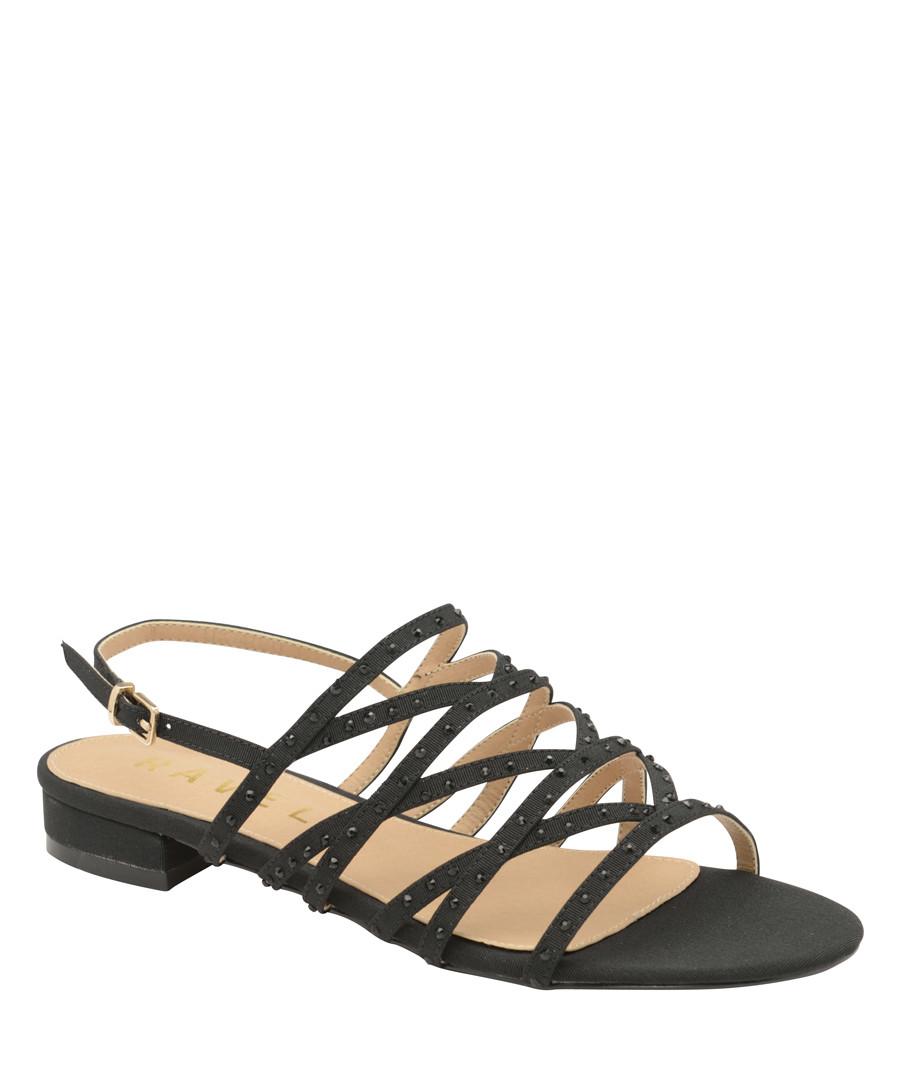 Black studded strappy flat sandals Sale - ravel