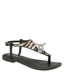 Black zebra print T-bar sandals