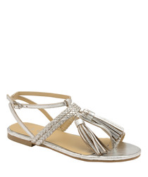 Silver leather tassel strappy sandals