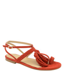 Red leather tassel strappy sandals