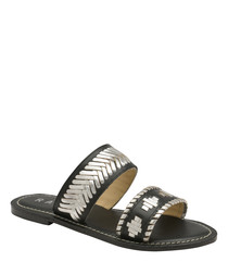 Black leather weave-detail sandals