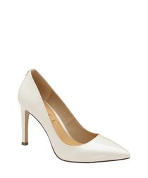 White pointed stiletto heels